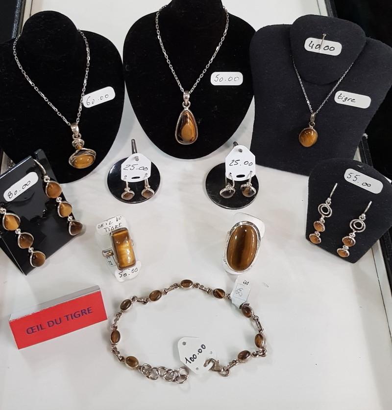 oeil du tigre - argent pierres semi précieuses - Bijoutier artisan ATELIER DB CREATION - Voir en grand
