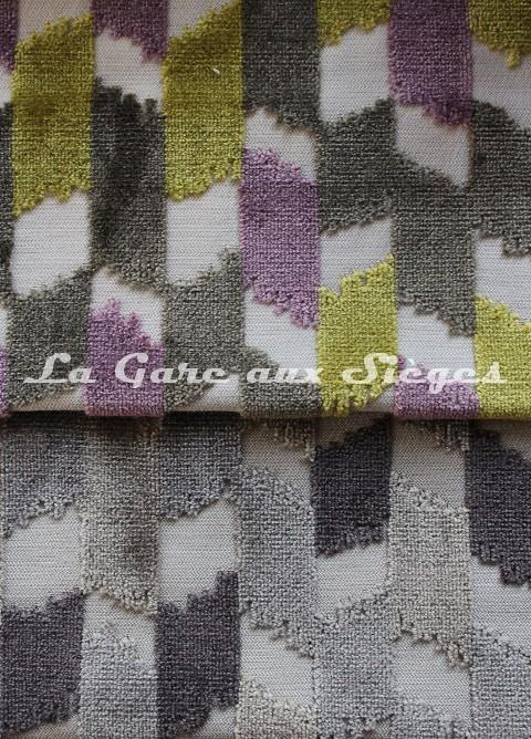 Tissu Jéro - Italique - réf: 9116 - Coloris: 05 Absinthe & 06 Fumée ( supprimé ) - Voir en grand