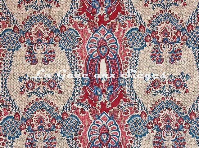 Tissu Braquenié - La Valette - réf: B738A.001 Rouge Bleu - Voir en grand