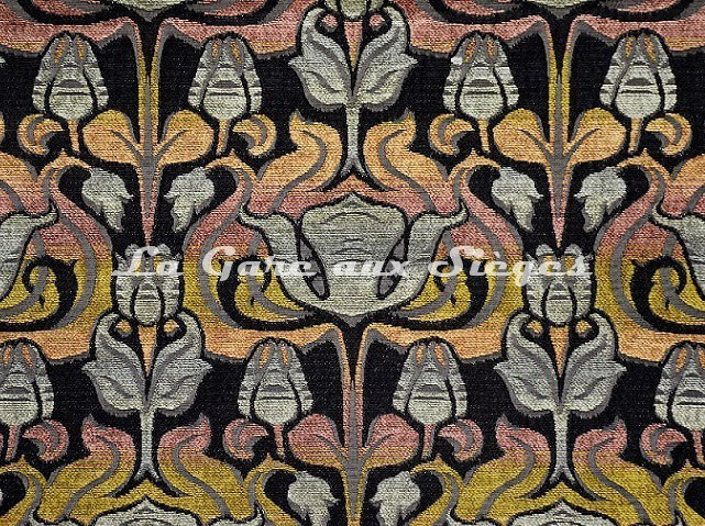 Tissu Casal - Velours Tiffany - réf: 16207-450 Orangé Noir - Voir en grand