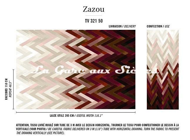 Tissu Elitis - Zazou - réf: TV321.50 ( raccord ) - Voir en grand