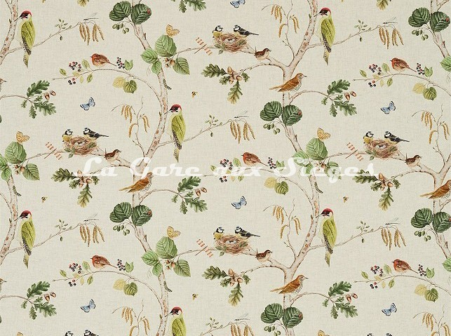 Tissu Sanderson - Woodland Chorus - réf: 225511 Linen/Multi - Voir en grand
