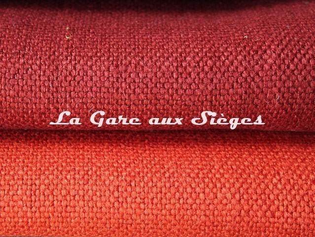 Tissu Dominique Kieffer - Gros Lin - réf: 17208 - Coloris: 07 Scarlet & 08 Sunset - Voir en grand