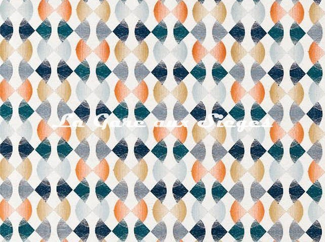 Tissu Harlequin - Maolica - réf: 132880 Paprika/Teal/Ochre - Voir en grand