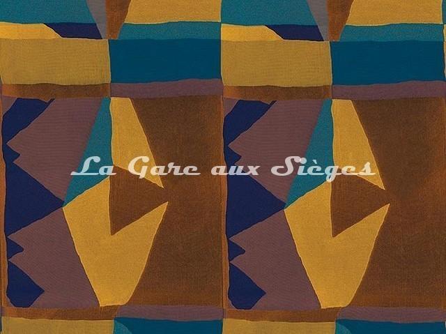 Tissu Casamance - Fantasque - réf: 3797.0140 Marine/Mordoré - Voir en grand