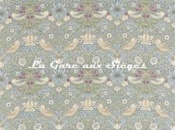 Tissu William Morris - Strawberry Thief - réf: 220314 Slate/Vellum - Voir en grand