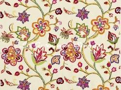 Tissu Pierre Frey - Broderie Daisy - réf: F2947-001 Multicolore - Voir en grand