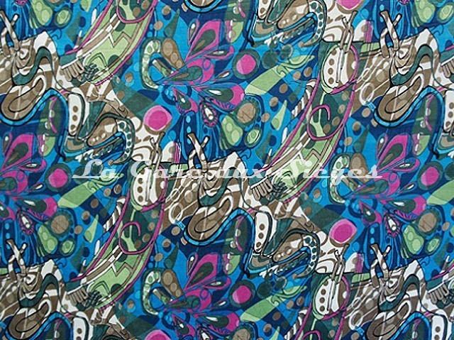 Tissu Casal - Velours Pop'Art - réf: 12839-10 Multi bleu - Voir en grand