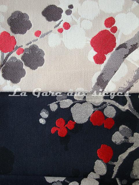 Tissu Bélinac - Nara - réf: 1355 - Coloris: 03 Rouge fond beige & 02 Rouge fond noir - Voir en grand