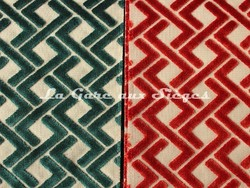 Tissu Casamance - Velours Magnum - réf: 3656.0693 Vert émeraude & 3656.0845 Rouge piment - Voir en grand