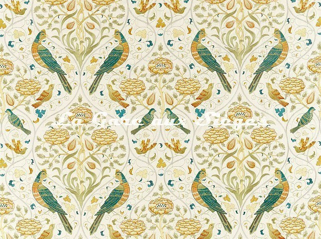 Tissu William Morris - Seasons by May Embroidery - réf: 236826 Sea Glass/Brick - Voir en grand