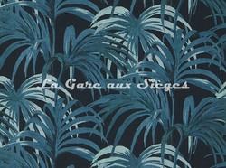 Tissu House of Hackney - Palmeral Coton/Lin - Coloris: Midnight/Azure - Voir en grand
