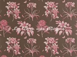 Tissu Sanderson - Etching & Roses - réf: DPFPET202 Chocolate/Pink - Voir en grand