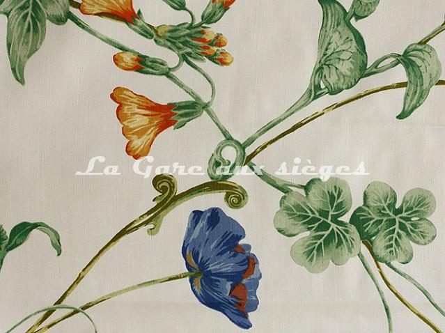 Tissu Bélinac - Garden - réf: 1023/3923-03 Ivoire/Bleu/Jaune - Voir en grand