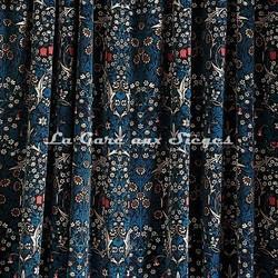Tissu House of Hackney - Blacktorn velvet - Coloris: Teal - Voir en grand