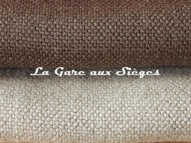 Tissu Dominique Kieffer - Gros Lin - réf: 17208 - Coloris: 09 Bois & 10 Sable - Voir en grand