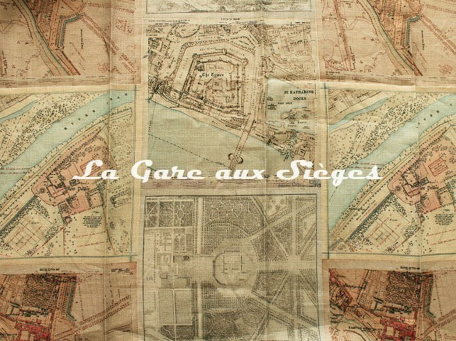 Tissu GP & J.Baker - Palace Maps Linen - réf: BP10657.1 - Voir en grand