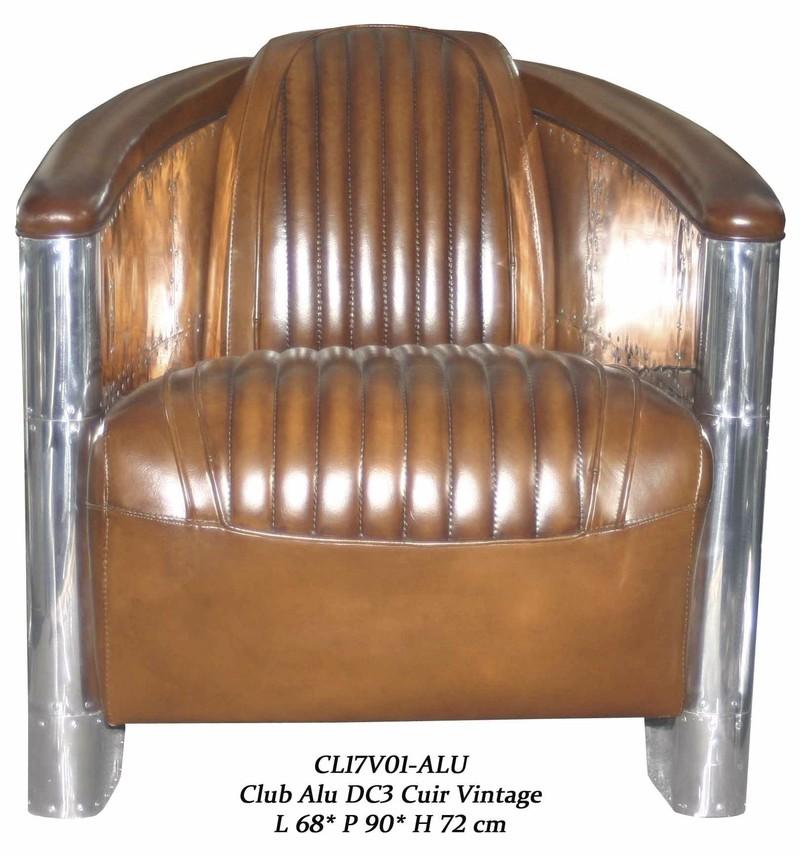 Fauteuil club dc3 cuir marron vintage aviation antan et - Fauteuil cuir belgique ...