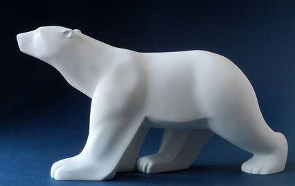 """Figurine Pompon """"Ours blanc"""" Grand Modele 67 CM de Longueur - FIGURINE DE COLLECTION ET PIECES DE MUSEE - ANTAN ET NEO - Voir en grand"""