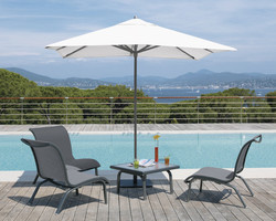 Ensemble parasol, chauffeuse et table Summer - Mobilier de jardin - BROCH HABITAT - Voir en grand