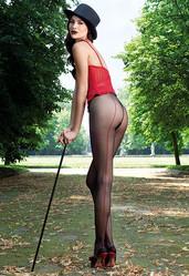Jessy collant noir beige voile couture rouge nylon Italie sexy raffiné - Voir en grand