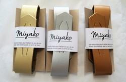 Anse cuir pour furoshiki - or, argent,cuivre- Comptoir du Japon
