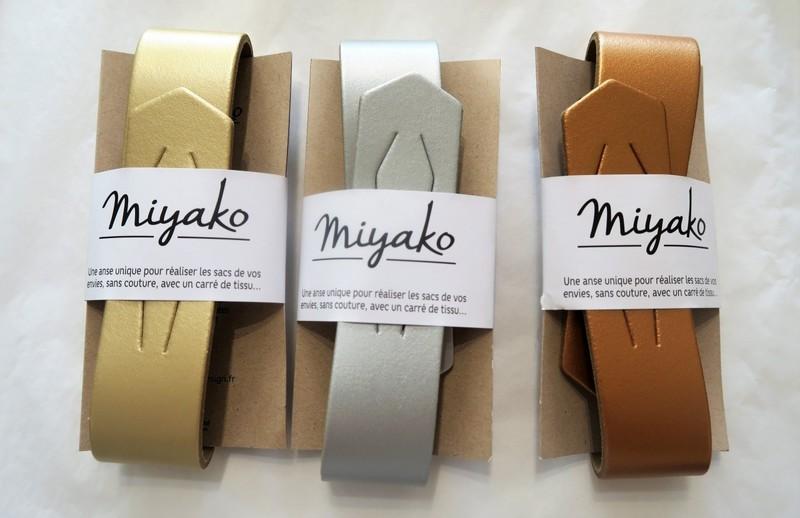 Anse cuir pour furoshiki - or, argent,cuivre- Comptoir du Japon - Voir en grand