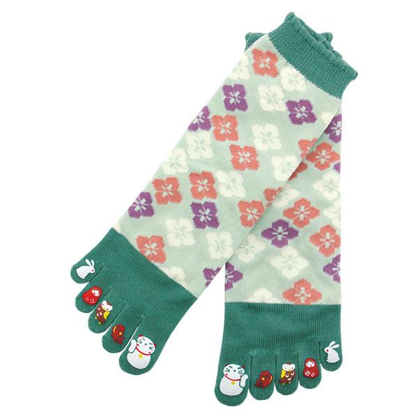 Chaussettes japonaises 5 orteils, imprimé chat blanc - Comptoir du Japon - Voir en grand