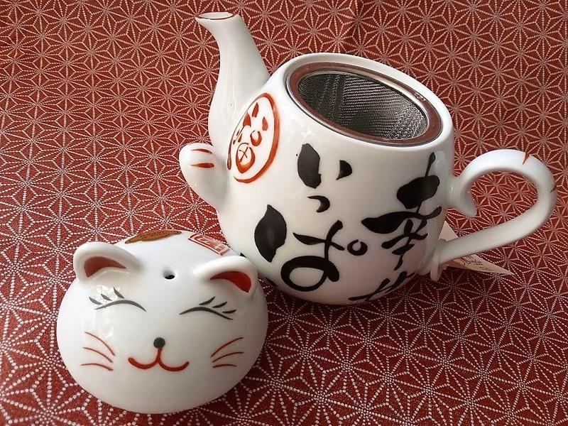"""Théière japonaise en porcelaine, chat """"plein de bonheur"""" - Voir en grand"""