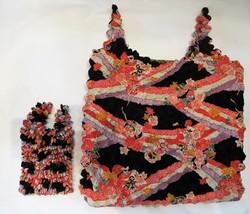 """Eco bag ou sac d'appoint """"magique"""" shibori, motifs japonais - noir - Comptoir du Japon"""