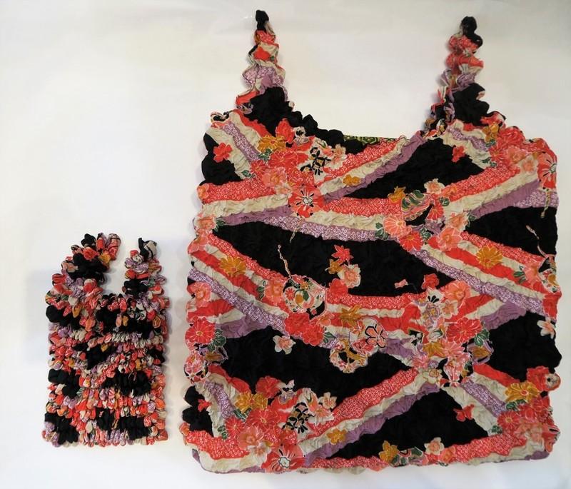 """Eco bag ou sac d'appoint """"magique"""" shibori, motifs japonais - noir - Comptoir du Japon - Voir en grand"""