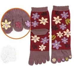 Chaussettes japonaises 5 orteils, imprimé fleur bordeaux - Voir en grand