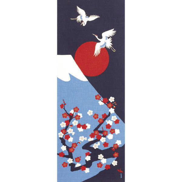 Tenugui décoratif, Grue et mont Fuji - Comptoir du Japn - Voir en grand