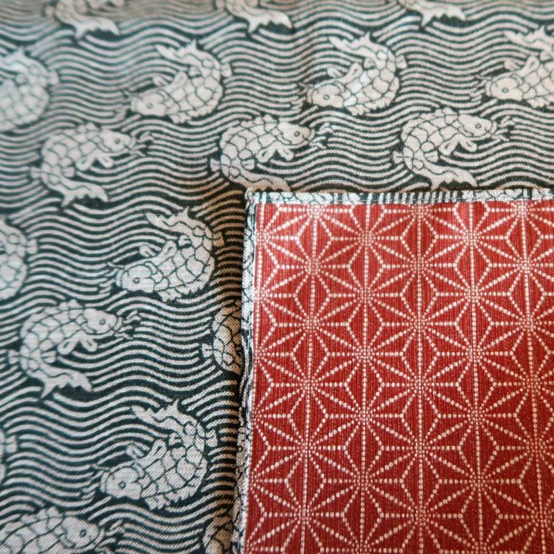 Furoshiki 105cm, carré de tissu japonais, réversible, poissons et asanoha - Voir en grand