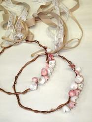 Couronnes Rose Gold Mariée Cocon de Soie Véritable - Bijoux et Accessoires Mariage - La Grèce Gourmande - Voir en grand