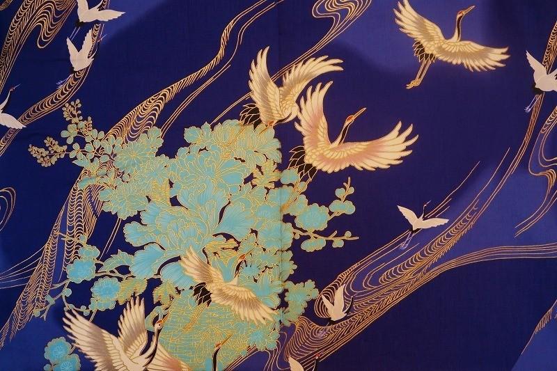 Kimono grues en vol bleu - Comptoir du Japon - Voir en grand
