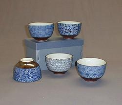 Bol bleus avec differents motifs - Comptoir du Japon bleus - Voir en grand