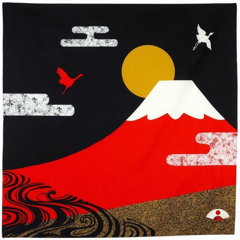 Furoshiki 90cm pour sac, décoration, paquet-cadeau - Mont Fuji et oiseaux- Comptoir du Japon - Voir en grand
