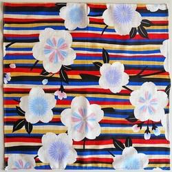Furoshiki 50 cm, carré de tissu japonais, fleurs - Sakura Bleu - Comptoir du Japon - Voir en grand