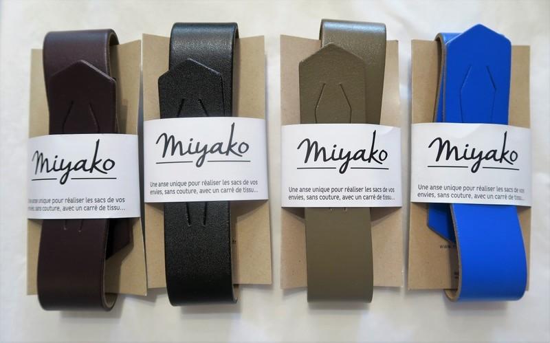 Anse cuir pour furoshiki - prune, noir, gris, bleu mikonos - Comptoir du Japon - Voir en grand