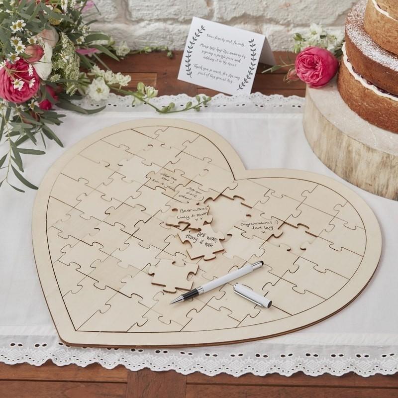 Mariage Livre D Or Original Puzzle En Forme De Coeur