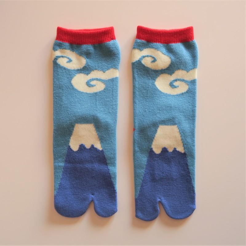Chaussettes japonaises tabi pour enfant, bleu, mont Fuji, taille 24 à 28 - Comptoir du Japon - Voir en grand