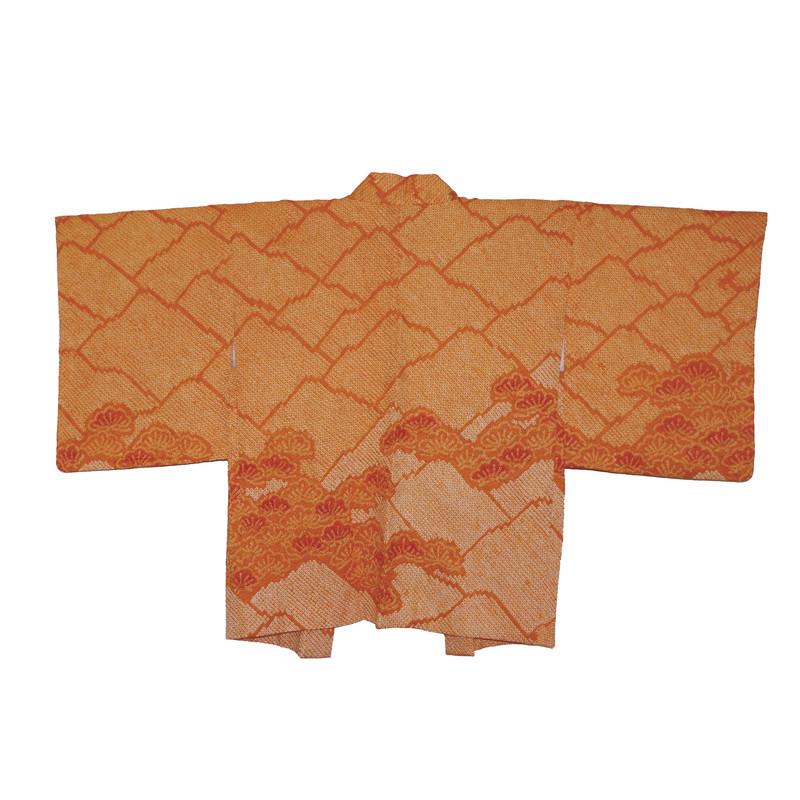 haori shibori en soie orange - Voir en grand