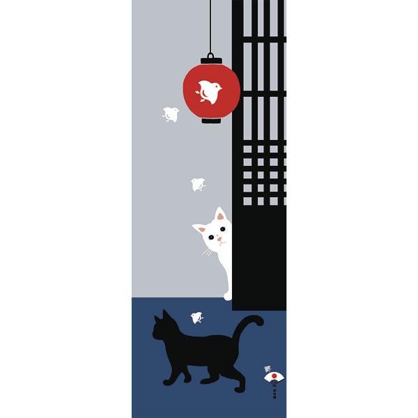 Tenugui décoratif, Chat et lampion japonais - Comptoir du Japon - Voir en grand