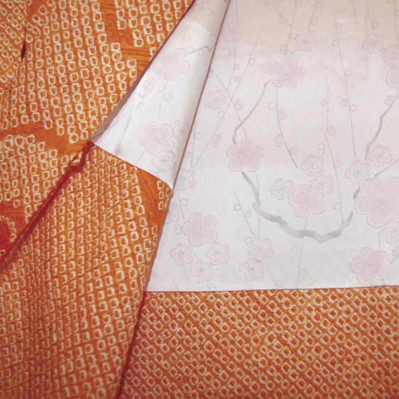 doublure blanche rosé haori shibori en soie orange - Voir en grand