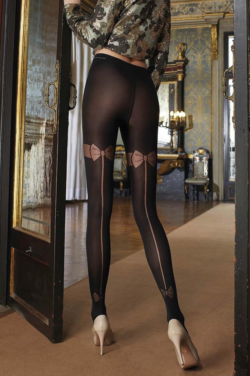 transparenze Dolcetto collant noir opaque fantaisie noeuds et coutures sexy Made inItalie - Voir en grand