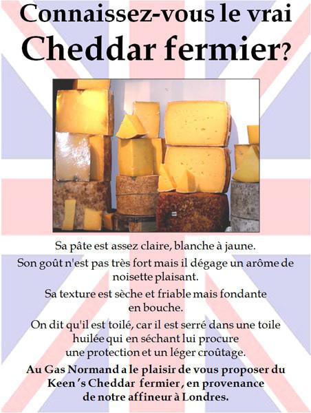 Cheddar fermier - Grande Bretagne - FROMAGERIE AU GAS NORMAND - DIJON - Voir en grand