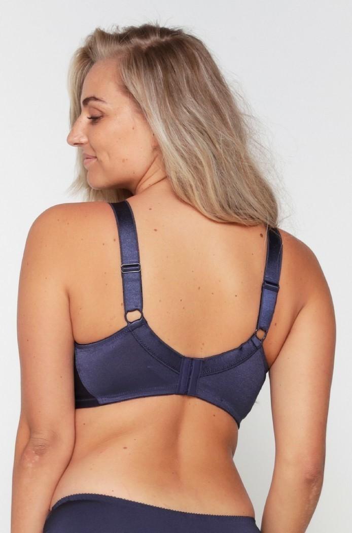 Lingadore Lisette soutien-gorge emboitant sans armatures bleu navy irrisé broderie perles coton - Voir en grand