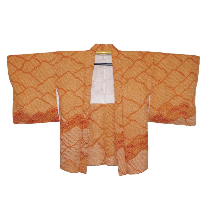 Veste japonaise haori en soie shibori orange - Kimono et haori en soie - Comptoir du Japon - Voir en grand