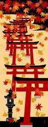 Tenugui décoratif - Torii et érable - Tissu - Comptoir du Japon - Voir en grand